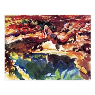 Cartão Postal Figura e piscina por Sargent