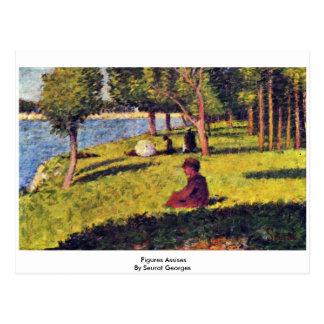 Cartão Postal Figuras Assises por Seurat Georges