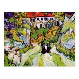 Cartão Postal Figuras multa das etapas de Auvers da rua da vila
