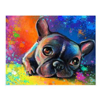 Cartão Postal Filhote de cachorro lunático bonito Novikova do