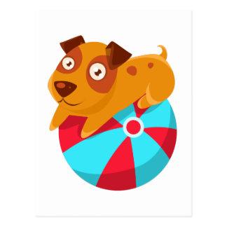 Cartão Postal Filhote de cachorro que equilibra na bola inflável