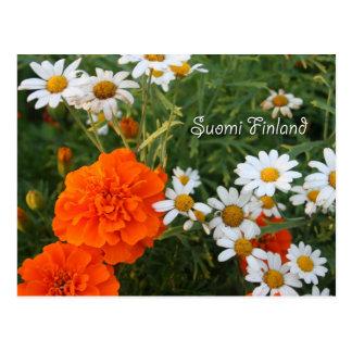 Cartão Postal Finlandia nas flores, 4ns em uma série