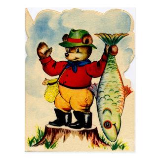 Cartão Postal Fisherbear com sua captura do dia
