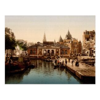 Cartão Postal Fishmarket e bolsa Amsterdão