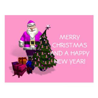 Cartão Postal Fitas cor-de-rosa de Papai Noel