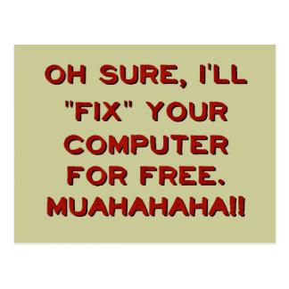 Cartão Postal Fixe seu computador para livre?