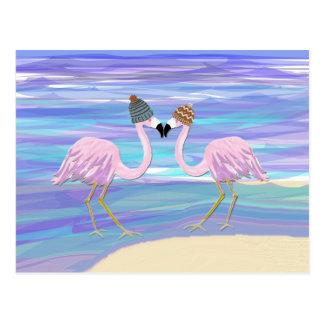 Cartão Postal Flamingos em chapéus feitos malha