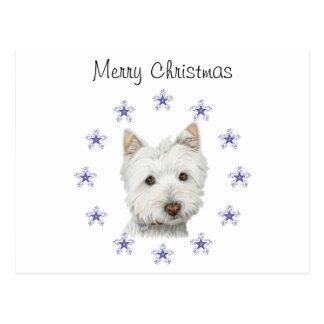 Cartão Postal Flocos de neve bonitos da arte e do Natal do cão