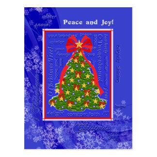 Cartão Postal Flocos de neve da árvore do Xmas dos poemas