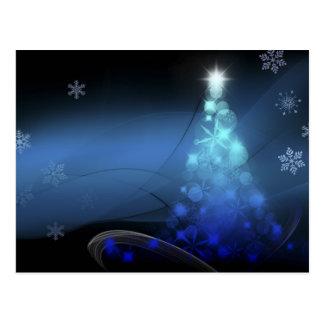 Cartão Postal Flocos de neve do feriado do Natal azuis