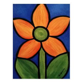 Cartão Postal Flor alaranjada do abstrato do azul