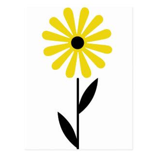 Cartão Postal Flor amarela retro da arte popular bonita