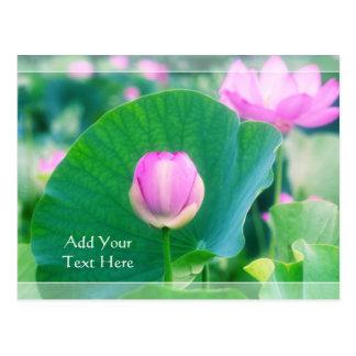 Cartão Postal Flor cor-de-rosa bonita da folha do verde da flor