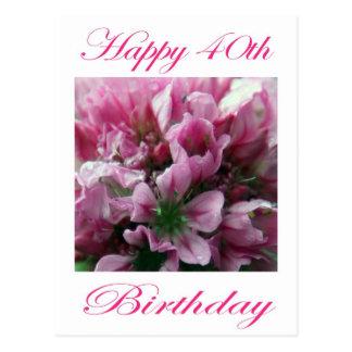 Cartão Postal Flor cor-de-rosa e verde do aniversário de 40 anos