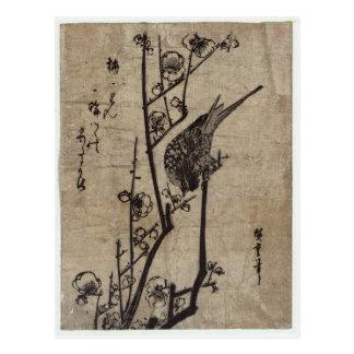 Cartão Postal Flor da ameixa e toutinegra de Bush por Hiroshige