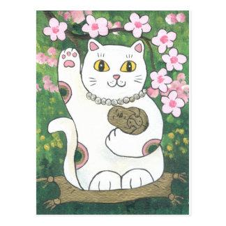 Cartão Postal Flor de cerejeira doce Neko
