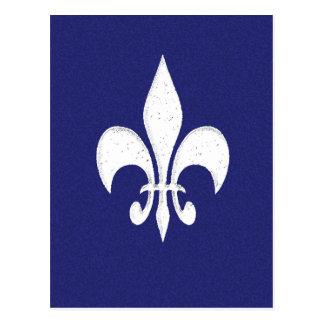Cartão Postal Flor de lis branca no azul