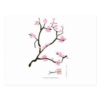Cartão Postal flor de sakura com pássaros cor-de-rosa, fernandes