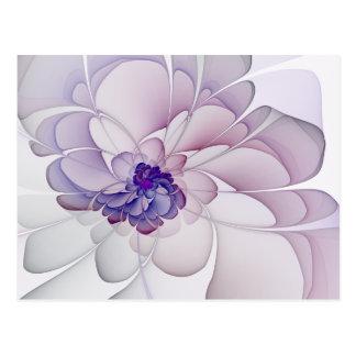 Cartão Postal Flor do abstrato do roxo do Coquette