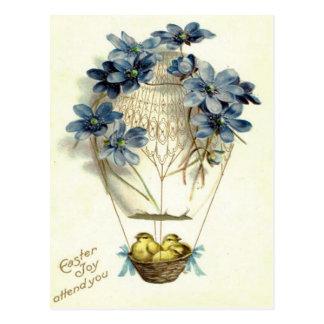 Cartão Postal Flor do azul do balão de ar quente do pintinho da