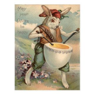 Cartão Postal Flor do baterista do cilindro do ovo do coelhinho