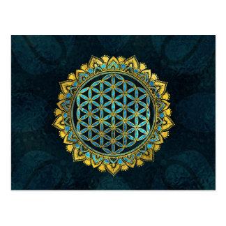 Cartão Postal Flor do ouro da vida um o vidro azul da textura
