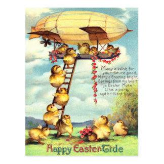 Cartão Postal Flor do zepelim do dirigível do pintinho da páscoa