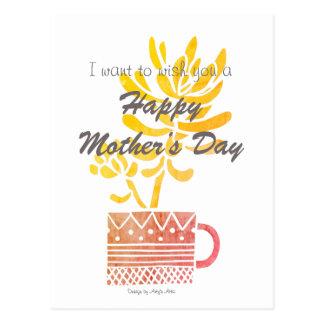 Cartão Postal Flor feliz do amarelo do dia das mães