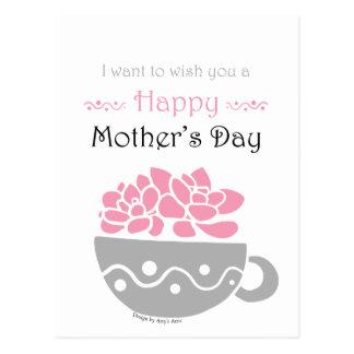 Cartão Postal Flor feliz do rosa do dia das mães