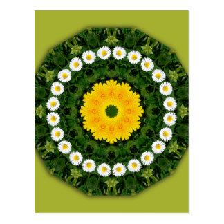 Cartão Postal Flor-Mandala, margaridas
