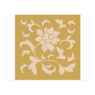 Cartão Postal Flor oriental - café Latte & mostarda picante