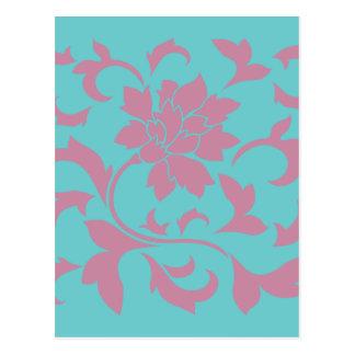Cartão Postal Flor oriental - morango & turquesa pura