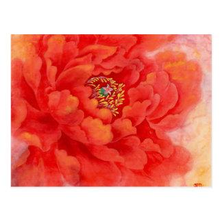 Cartão Postal Flor vermelha da aguarela