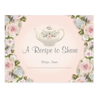 Cartão Postal Floral bonito do rosa da receita do tea party do