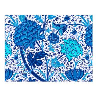 Cartão Postal Floral Jacobean de William Morris, azul cobalto