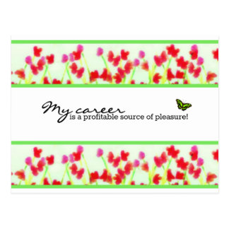 Cartão Postal Floral vermelho - minha carreira é uma fonte