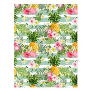 Cartão Postal Flores & abacaxi tropicais nas listras 2 da