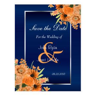 Cartão Postal Flores alaranjadas bonito em economias Azuis do