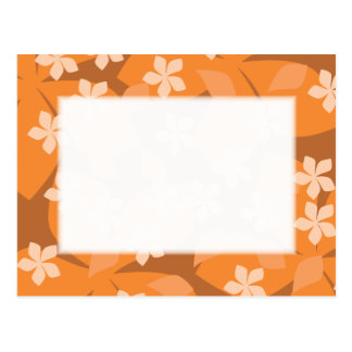 Cartão Postal Flores alaranjadas. Teste padrão floral retro