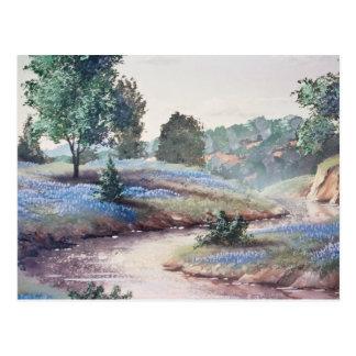 Cartão Postal Flores azuis azuis em flores do campo