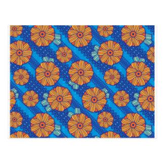 Cartão Postal Flores azuis de Boho
