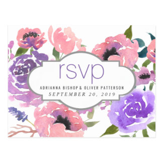 Cartão Postal Flores cor-de-rosa lunáticas da aguarela que
