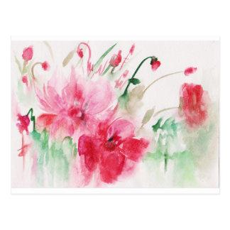 Cartão Postal Flores cor-de-rosa maravilhosas