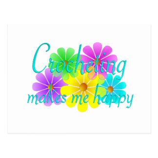 Cartão Postal Flores Crocheting da felicidade