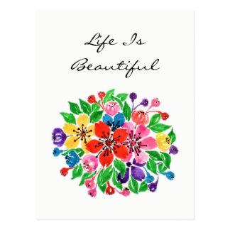 Cartão Postal Flores da aguarela