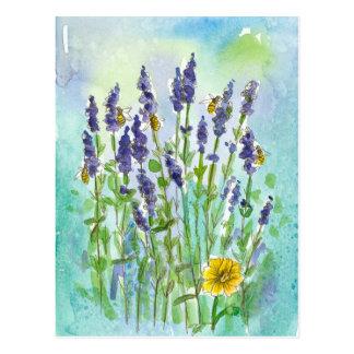 Cartão Postal Flores da aguarela da lavanda das abelhas do mel