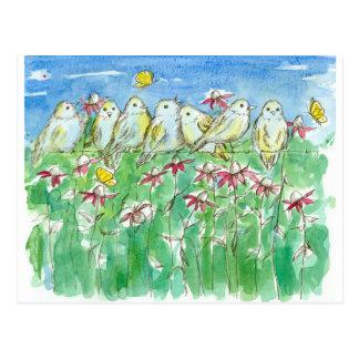 Cartão Postal Flores da aguarela de Coneflower das borboletas
