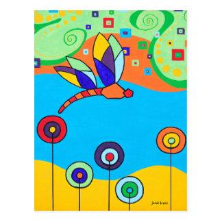 Cartão Postal Flores da libélula e do pirulito