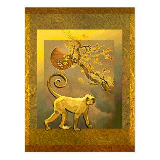 Cartão Postal Flores da lua & da ameixa do ano novo de Monkey~