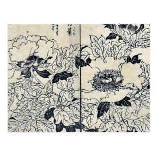 Cartão Postal Flores da peônia por Tachibana, Yasukuni Ukiyoe
